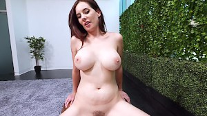 Busty brunette gets her daily doze of black cock