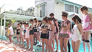 Cosplay teens at the pool party riding big dick