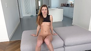 Skinny Russian babe strips and fucks in a POV scene