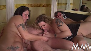 Big tit German chicks suck dick and eat pussy in foursome