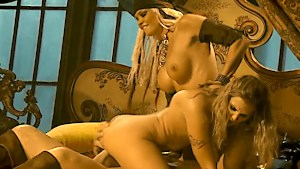 Two hot chicks take his large dick in their tight twats