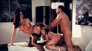 Hot redhead fucked by couple